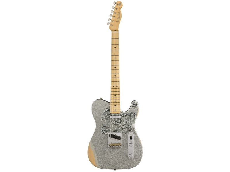 Fender Brad Paisley Road Worn Telecaster Maple Fingerboard in Silver Sparkle