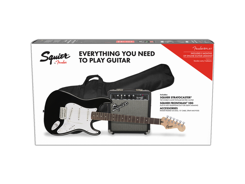 Squier Stratocaster Electric Guitar Pack in Black with 10G Amp