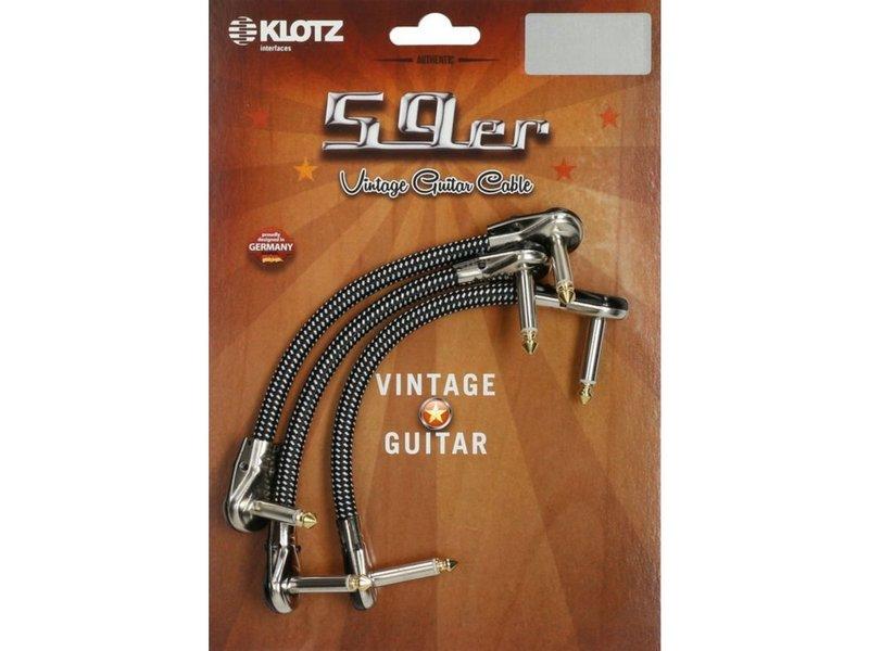 Klotz VINPAN 59er Vintage Pancake Pro Patch Cables - Right Angled Jack Plugs - 3 pcs Black and White - 0.15 Metre