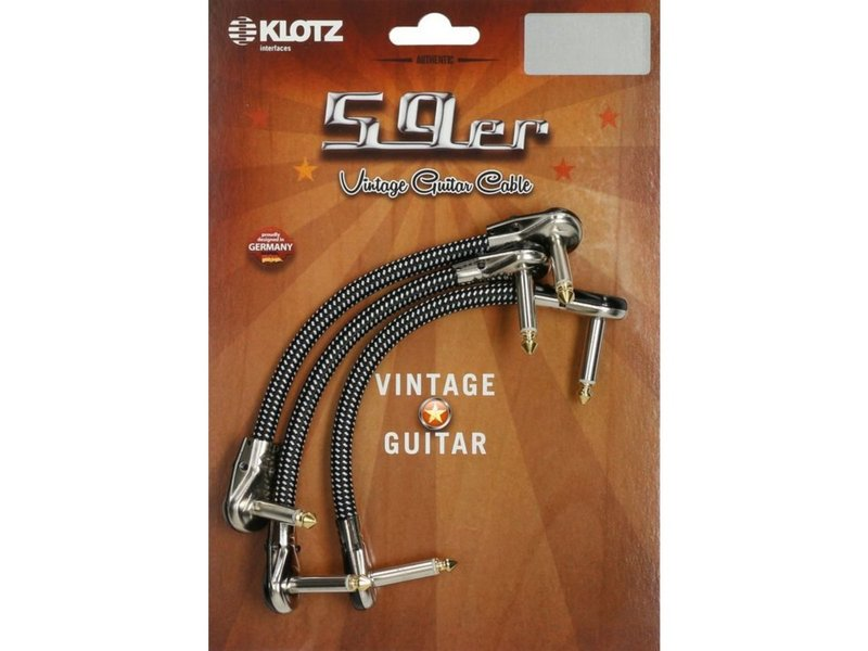 Klotz VINPAN 59er Vintage Pancake Pro Patch Cables - Right Angled Jack Plugs - 3 pcs Black and White - 0.3 Metre