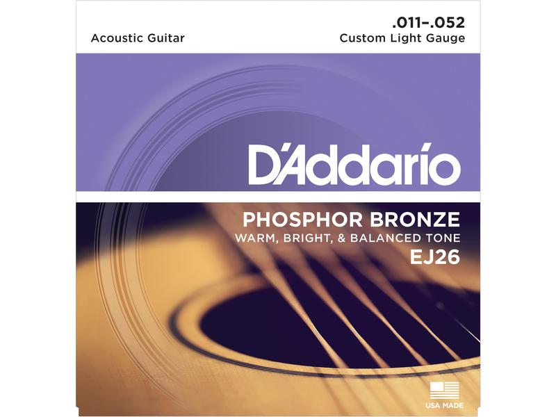 D'Addario EJ26 Phosphor Bronze Acoustic Guitar Strings Custom Light 11-52