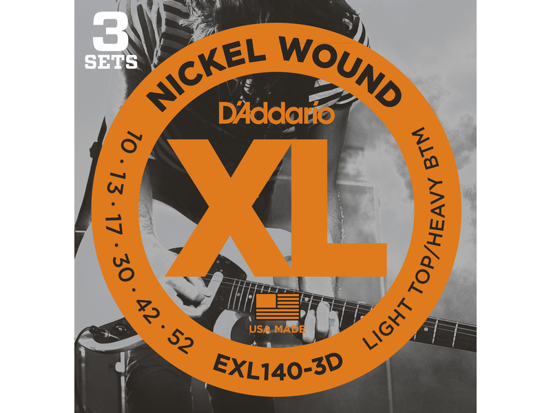 D'Addario EXL140-3D Nickel Wound Electric Guitar Strings Light Top/Heavy Bottom 10-52 3 sets
